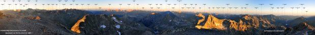 Panorama Lever de Soleil depuis le Balaitous (3144m)