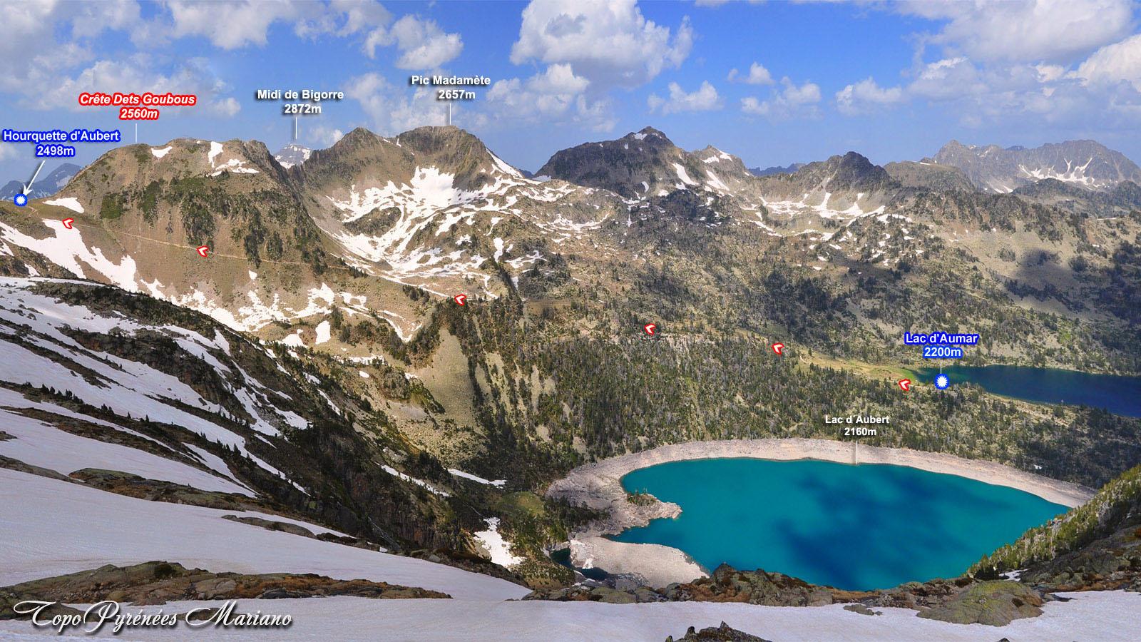 Lac d'Aumar (2200m) et Hourquette d'Aubert (2498m)