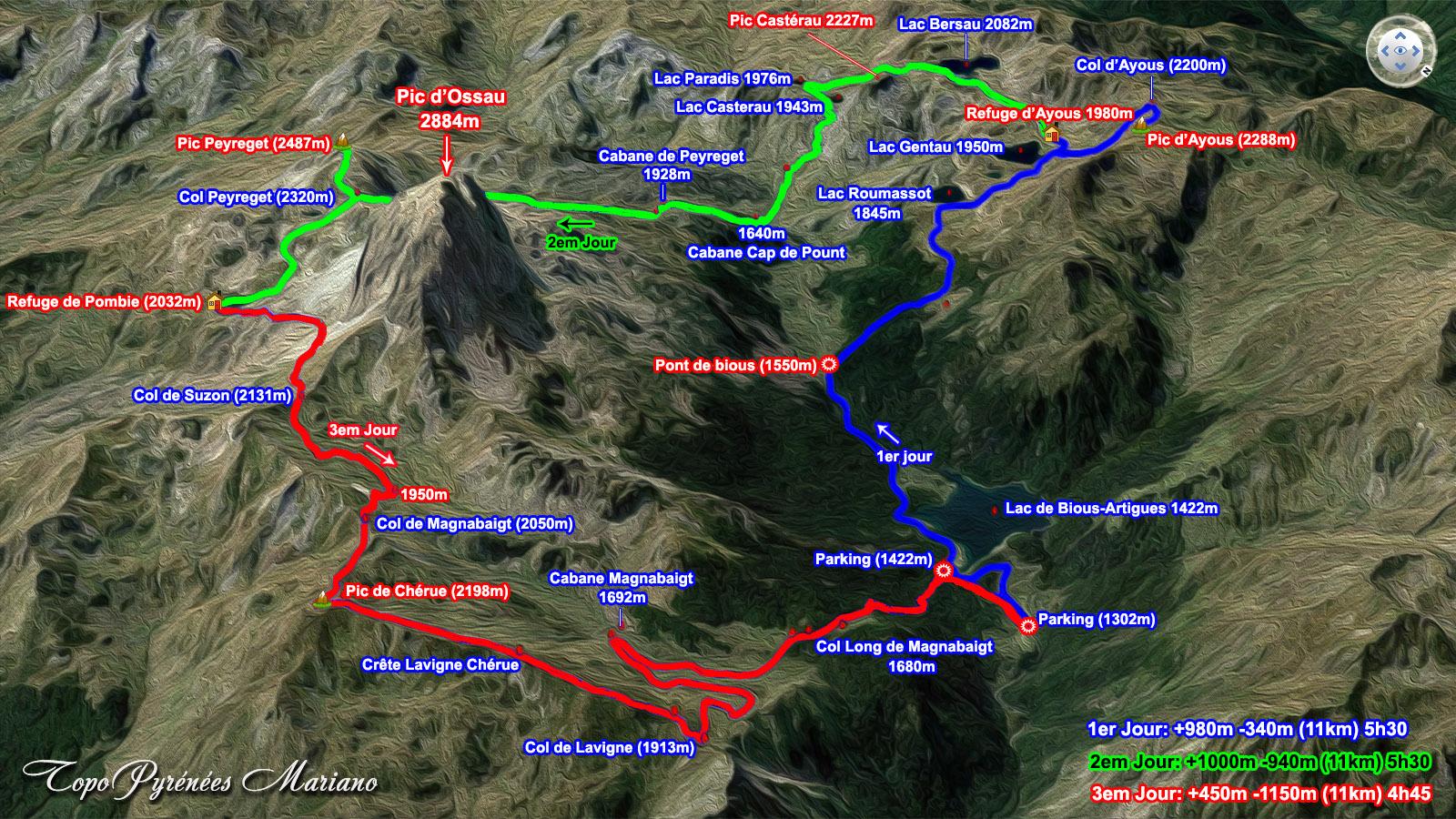 Circuit de 3 jours autour du Pic du Midi d'Ossau