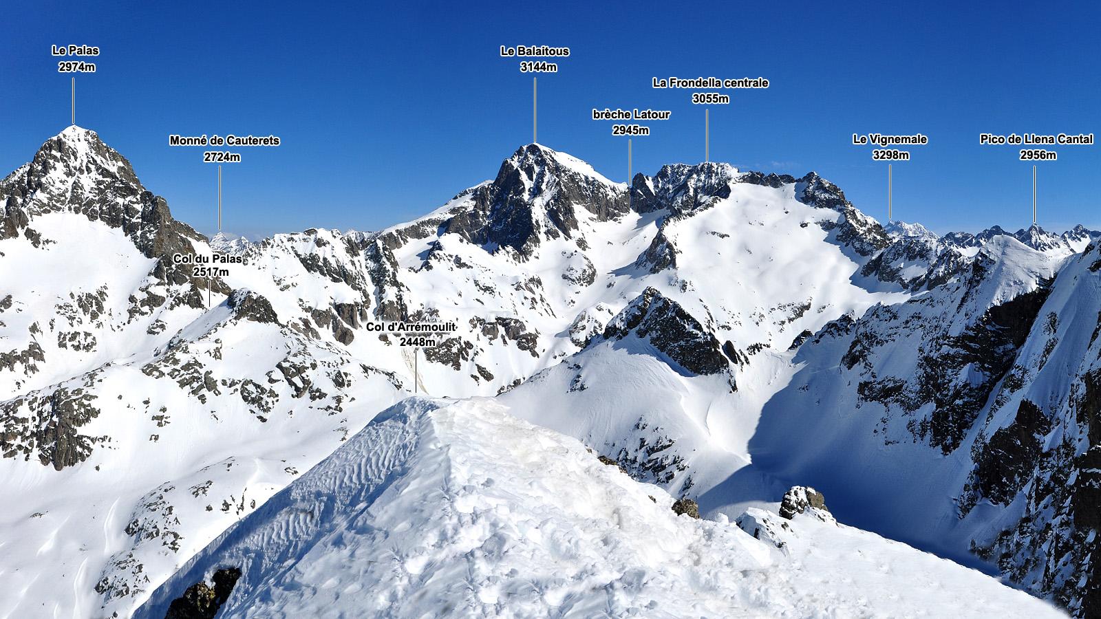Quiz Panorama hivernal du petit pic d'Arriel (2683m)