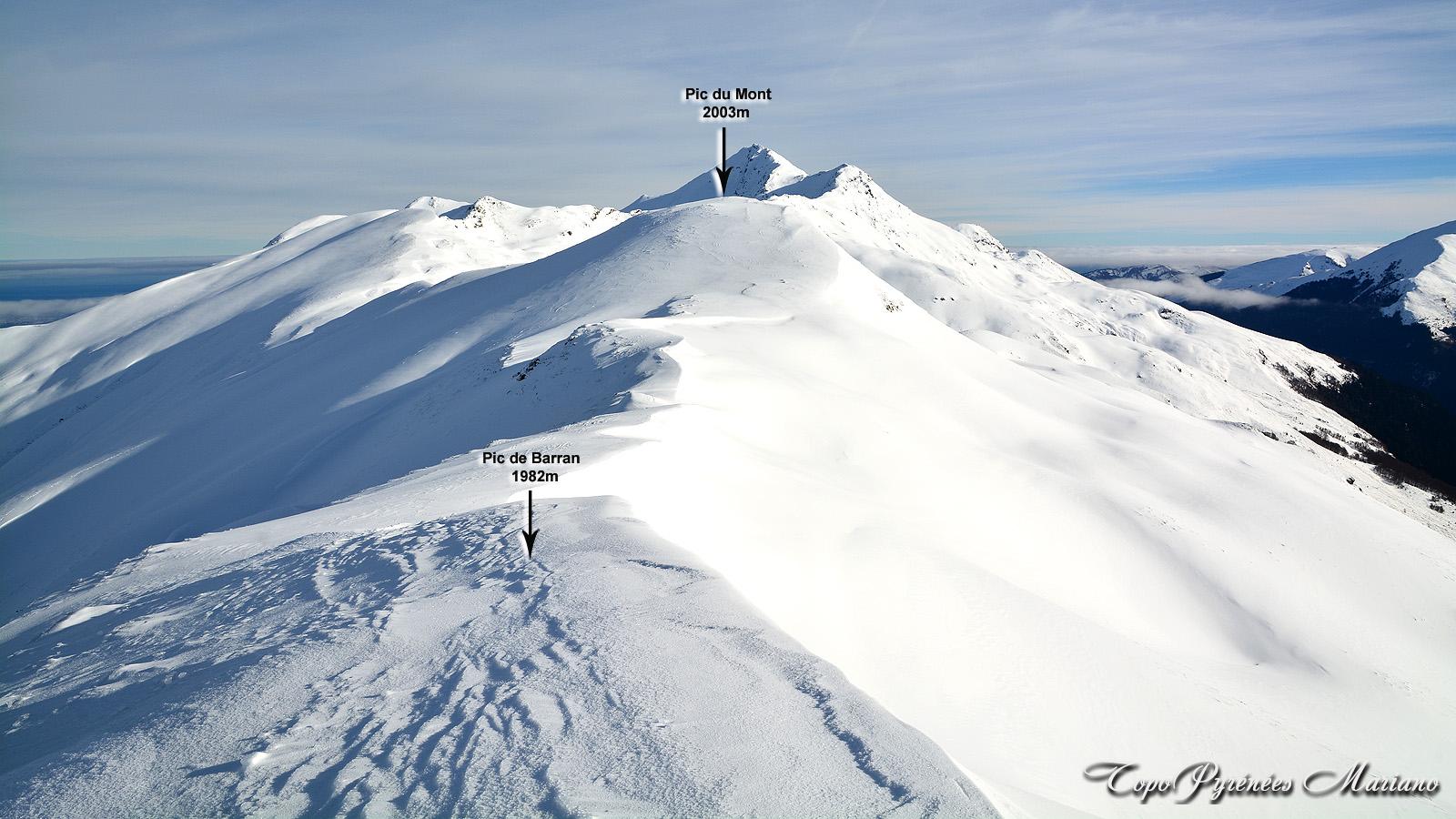 Raquettes Pic de Barran (1982m) et Pic du Mont (2003m)
