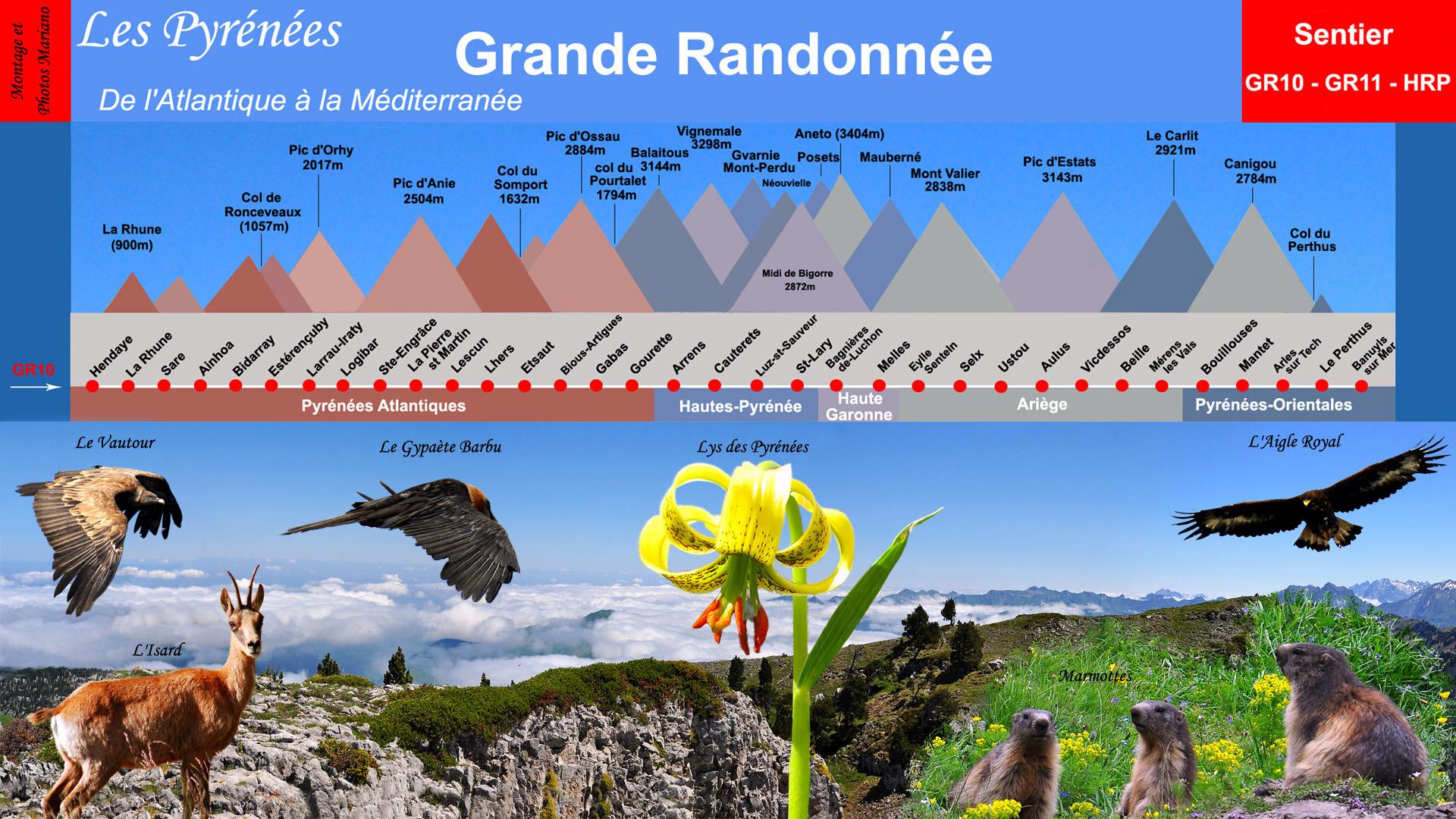 Cartographie Traversée des Pyrénées d'Ouest en Est (GR10/GR11/HRP)