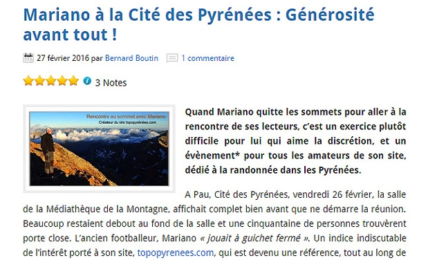 Mariano à la Cité des Pyrénées : Générosité avant tout !