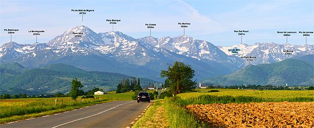 Panorama des Pyrénées Occidentales depuis la D20