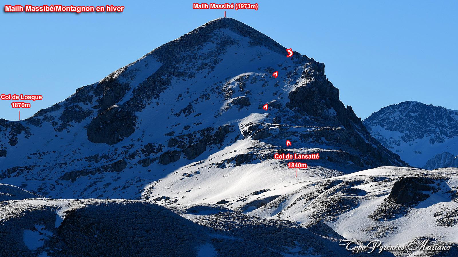 Sortie hivernale aux Rocher d'Aran (1796m), Mailh Massibé et Pic Montagnon (1973m)