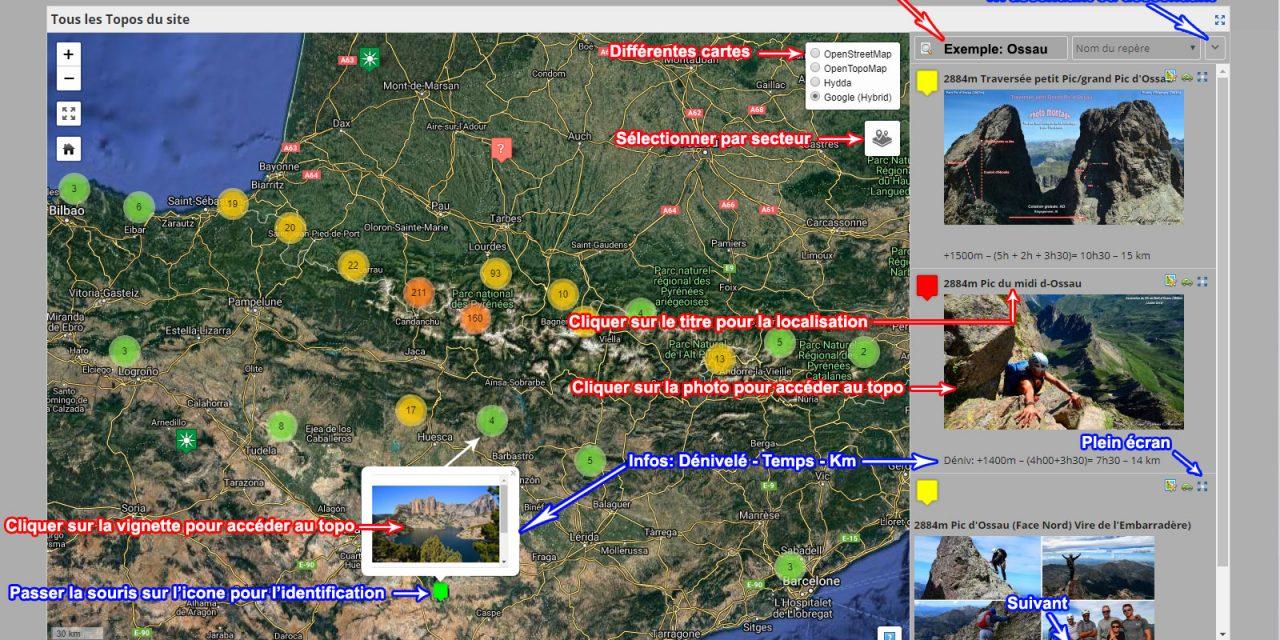 Nouvelle présentation pour rechercher un topo depuis la cartographie du site Topopyrénées