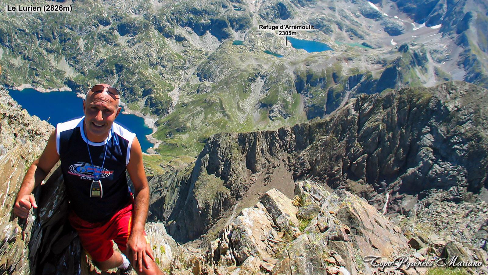 Le sommet du Lurien (2826m) depuis le refuge Arrémoulit (2305m)