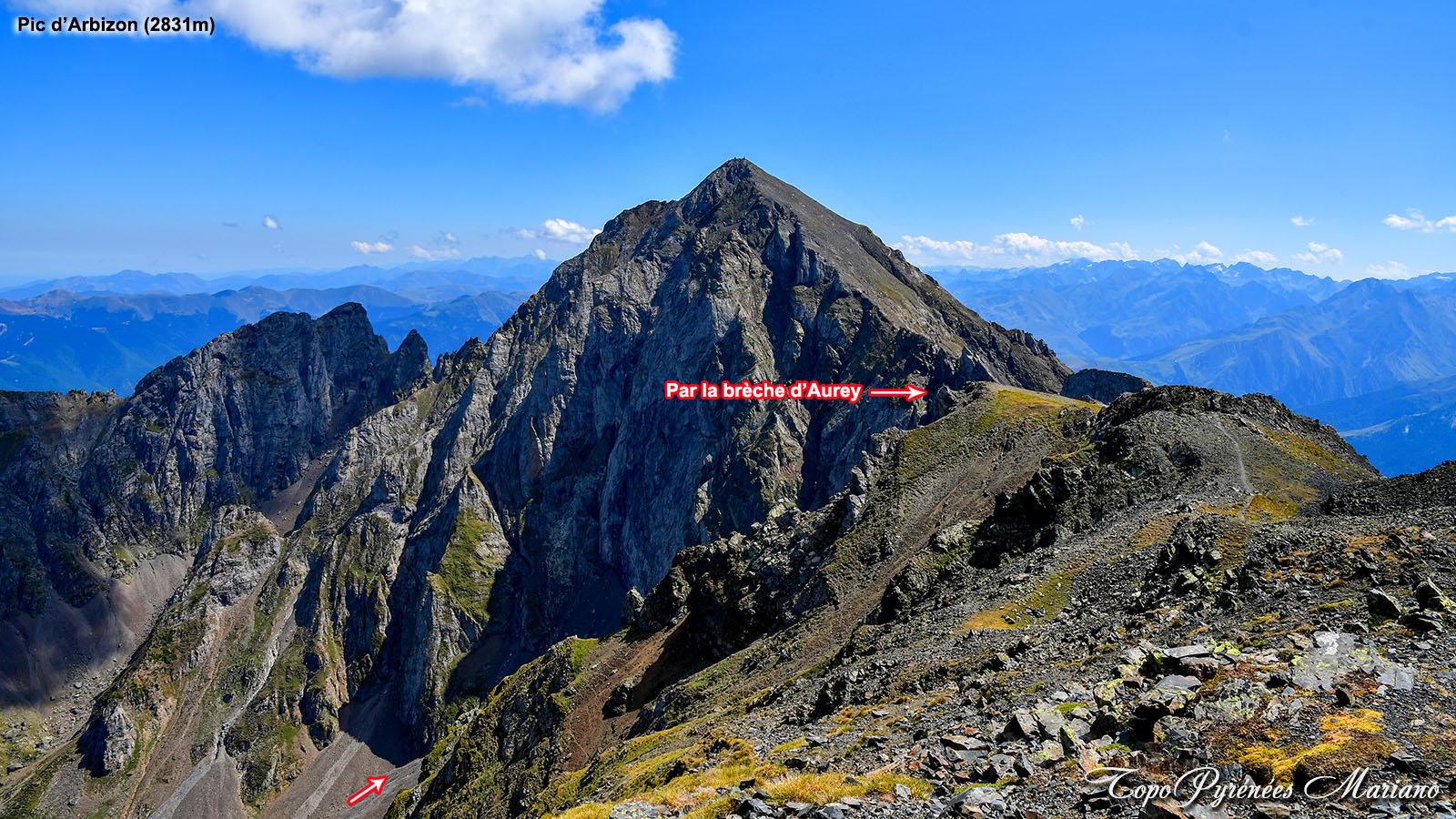 Pic Arbizon (2831m) par la brèche d'Aurey et le Montfaucon (2712m) depuis la Hourquette d'Ancizan