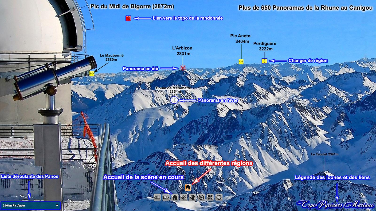 Tous les Panoramas à 360° de la chaîne des Pyrénées